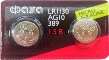 Батарейка ФАZА AG10/LR1130 алкалиновая 2 шт
