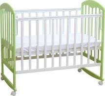 Кроватка Фея на колёсиках, белый/мята