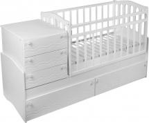 Кровать-трансформер Укачай-ка Daka Baby 04, белый