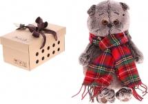 """Мягкая игрушка """"Басик и красный шарф в клеточку"""", 22 см, Басик и Ко"""