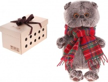 """Мягкая игрушка """"Басик и красный шарф в клеточку"""", 25 см, Басик и Ко"""