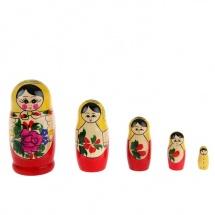 Матрешка 5 кукол, семеновская роспись