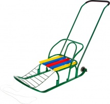 """Санки """"Кирюша-7К"""" с толкателем и колесами, цвет зеленый"""