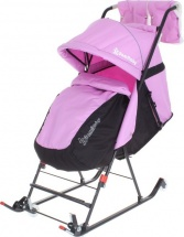 Санки-коляска DamiBaby с 4 колёсиками, цвет сиреневый