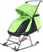 Санки-коляска DamiBaby с колёсиками, цвет зелёный