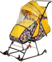 Санки-коляска DamiBaby с 4 колёсиками, цвет жёлтый с рисунком