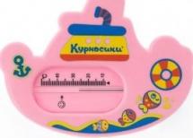 Термометр для ванной Курносики Пароходик без ртути, розовый