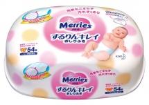 Детские влажные салфетки Merries, 54 шт, пласт. конт.