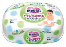 Детские влажные салфетки Merries, 64 шт, пласт. конт.