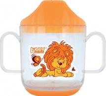 """Кружка Lubby """"Весёлые животные"""" с крышкой 150 мл, оранжевый (львенок)"""