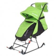 Санки-коляска DamiBaby с 4 колёсиками, зелёный, Дэми
