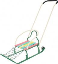 """Санки """"Кирюша-4вк"""" с толкателем, с колёсиками, цвет: зелёный"""