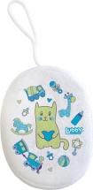 Мочалка Lubby Малыши и Малышки с махрой, голубой (котик)