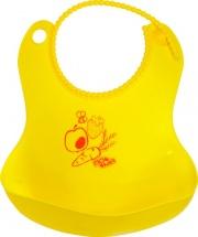 Слюнявчик Пома гибкий с карманом, желтый