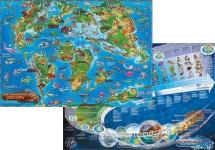 Карта мира детская двухсторонняя. Динозавры