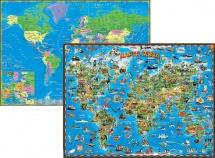 Карта мира детская двухсторонняя