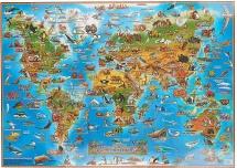 Карта мира детская. Животные (настольная)