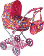 Коляска-люлька для кукол Melobo с корзинкой и сумкой (большие колеса)