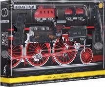 Железная дорога Голубая стрела с паровозом и вагоном