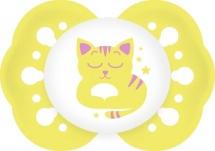 Пустышка Lubby Нежная для сна Котенок желтый силикон симметричная с 0 мес