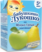 Сок Бабушкино лукошко Яблоко-Груша осветленный с 5 мес 200 мл