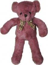 Мягкая игрушка  TashaToys Медведь с клетчатым бантом 20 см