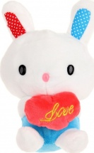Мягкая игрушка TashaToys Заяц с сердцем 20 см