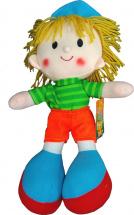 Кукла TashaToys Мальчик в полосатой футболке 25 см