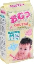 Подгузники Omutsu M (6-11 кг) 5 шт