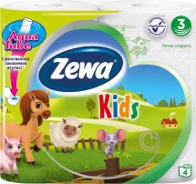 Туалетная бумага Zewa Kids Детская 3 слоя 4 рулона