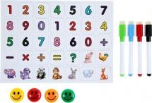 Маркеры цветные на водной основе со стиралкой, магнитами и цифрами 4 шт