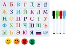 Маркеры цветные на водной основе со стиралкой, магнитами и алфавитом 4 шт