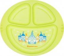 Тарелка Курносики Город 3-хсекционная, зеленый