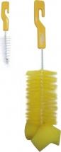 Ершик Пома с губкой для бутылочек и сосок, желтый 2 шт