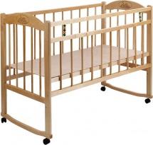 Кроватка Заюшка с колесами и качалкаой, светлый