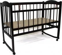 Кроватка Заюшка c колесами и качалкой, темный