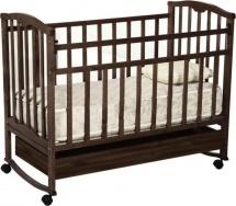 Кроватка Агат Золушка-2 колесо-качалка с ящиком, шоколад