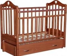 Кроватка Антел Каролина № 4 поперечный маятник, автоспинка и ящик, орех