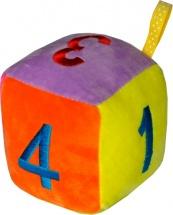 Мягкая погремушка TashaToys Кубик с петельками 11 см