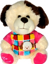 Мягкая игрушка TashaToys Собачка в кофте 25 см