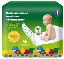 Впит. пеленки Пелигрин Super 60х90 см, 30 шт