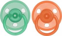 Пустышка Курносики Зеленый/Красный силикон круглая с 6 мес 2 шт