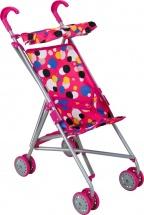 Коляска-трость для кукол Buggy Boom Mixy с крышей, разноцветные круги (розовый)