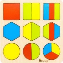 Вкладыш Alatoys Дроби-фигуры 18 элементов
