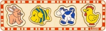 Вкладыш Alatoys Заяц, рыбка, корова, петух