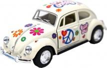 Машинка Kinsmart Volkswagen Classical Beetle с рисунком, белый