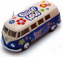 Автобус Kinsmart Volkswagen Classical Bus 1962 с рисунком, синий