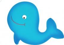 Мини-коврик Valiant Добрый кит, голубой
