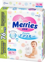 Подгузники Merries M (6-11 кг) 76 шт