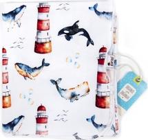 Пеленка GlorYes трикотажная 100х83 см, киты